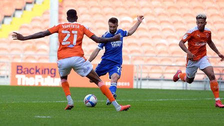 Gwion Edwards makes the game safe with his second goal at Blackpool. Picture Pagepix Ltd