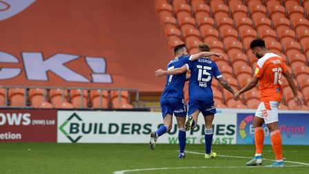 Teddy Bishop celebrates making the first half score 3-0 to Ipswich at Blackpool. Picture Pagepix Ltd
