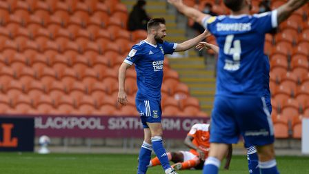 Gwion Edwards celebrates making it 2-0 to Ipswich at Blackpool. Picture: PAGEPIX LTD