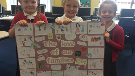 Creating prayers, pictures, posters and cards which the pupils are sending out to members of the com
