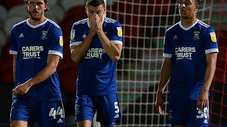 A disappointed James Wilson after the second goal at Doncaster Rovers. Picture Pagepix Ltd