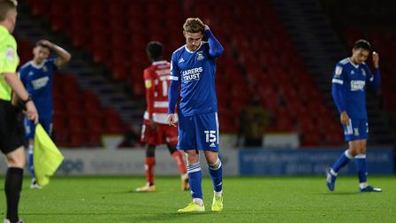 A disappointed Teddy Bishop at Doncaster Rovers after Ipswich Town were beaten 4-1 tonight. Picture