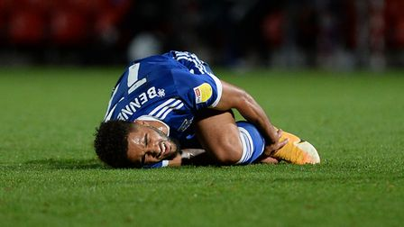Keanan Bennetts after getting fouled late in the game at Doncaster Rovers. Picture Pagepix Ltd