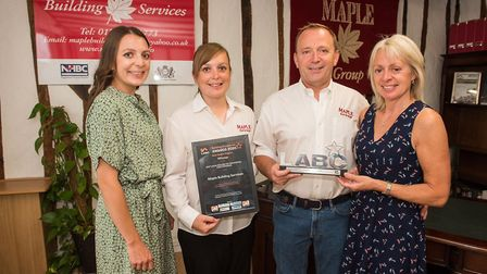 The team at Maple Building Services being presented with its LABC award. Picture: Maple Building Ser