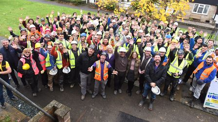 The DIY SOS team with volunteers at Simon Dobbin's home in Mildenhall Picture: ARCHANT