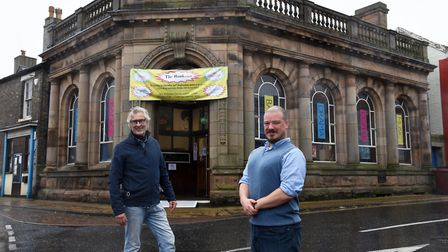 Peter Brooke, chairman of Eyes Open CIC, and artistic and theatre director Andrew Deane outside the revamped Bank Arts...
