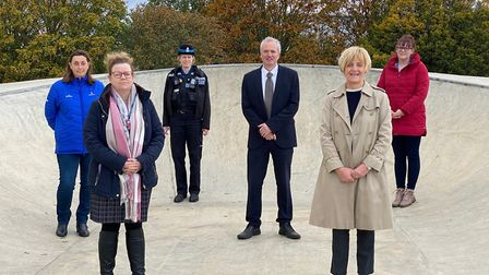 Skatepark funders and supporters L-R Penny Taylor, Godolphin; Lisa Collins, Newmarket Academy; Rache