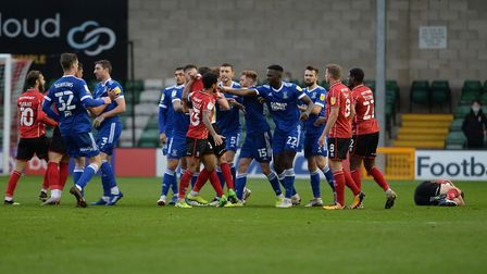 Jon Nolan's red card provoked a flare-up of tempers at Lincoln City Picture: PAGEPIX LTD