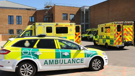 Ambulances parked up outside A&E at the Norfolk and Norwich University Hospital. Picture: Denise Bra
