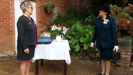 Juliet Wiles receives her BEM from Lord Lieutenant of Suffolk, Clare, Countess of Euston