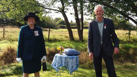 Lord Lieutenant of Suffolk, Clare, Countess of Euston, invests William Parker with a BEM for Service
