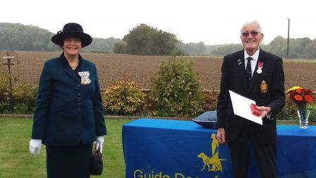 Lord Lieutenant of Suffolk, Clare, Countess of Euston, awards Bryan Garnham with a BEM for his Serv