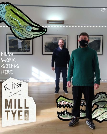 Peter Rumsey with Ipswich artist Kieran Page at the gallery in Great Cornard Picture: MILL TYE GALL