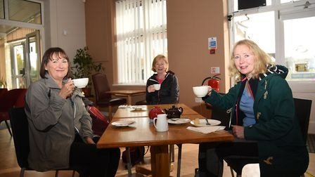 Francese Harding, Sue Peagram and Ann Palmer enjoying a drink in the refurbished cafe Picture: CHAR