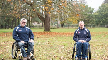 Joy Elias and Simon Chittock, members of the wheelchair squad at Woodbridge Rugby Club. Picture: SARAH LUCY BROWN