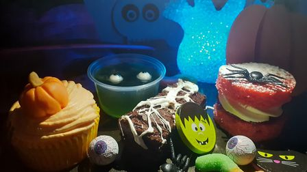 This Halloween treat box from Peanut Parties in Suffolk includes a brownie, cupcake, sponge cake and
