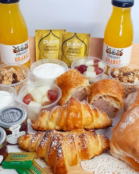 Sunday brunch delivery from Peanut Parties in Pettistree, including a filled roll, croissant, yoghur
