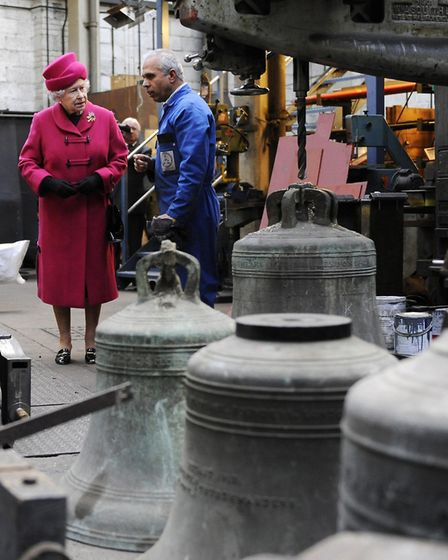 The Queen walks through foundry workshop at Whitechapel in March 2009 visit. Picture: Adrian Dennis/