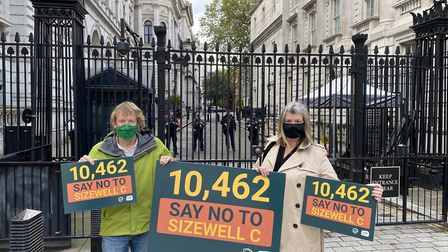 Alison Downes, of Stop Sizewell C, and Chris Wilson, of TASC, at Downing Street Picture: STOP SIZEWE