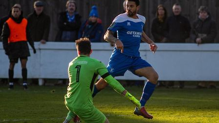 Carlos Edwards, in action for Bury Town. Picture: HANNAH PARNELL