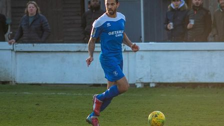 Carlos Edwards, on the ball for Bury Town. Picture: HANNAH PARNELL