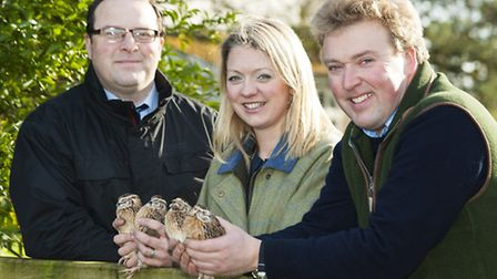 Client: NatWest (Wendy Gregory)Caption: John and Ellie Savory of Norfolk Quail, with NatWest's Stuar