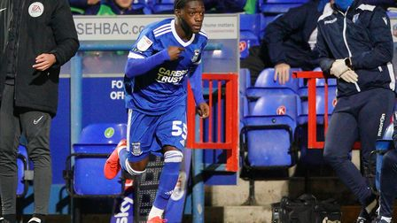 Zanda Siziba comes on late in injury time to make his Ipswich debut. Photo: Steve Waller