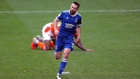 Ipswich Towns Gwion Edwards celebrates scoring his side's fourth goal of the game at Blackpool. Pict