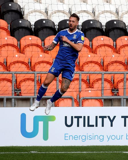 Luke Chambers scored a rocket in the win at Blackpool Picture: PA SPORT