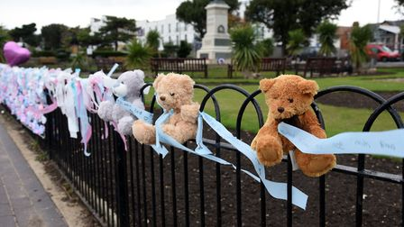 Teddies in memory of Maria Gormley's daughter Laura and other babies lost as part of Baby Loss Awareness Week Picture...