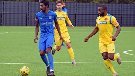 Barking's Donnell Anderson on the ball against FC Romania (Pic: Terry Gilbert)