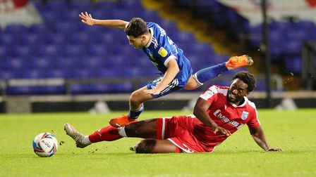 Armando Dobra is taken off his feet by Christian Maghoma.Picture: Steve Wallerwww.steph