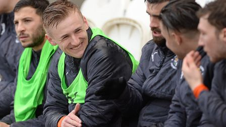 Flynn Downes on the bench at Colchester on Good Friday Picture Pagepix