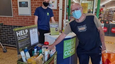 Shoppers at the Combs Ford Co-op store donating to the Holiday Hunger campaign over sumer. Picture: EAST OF ENGLAND...