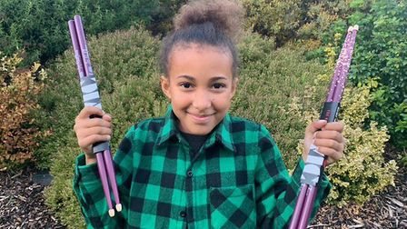 Young drumming sensation Nandi Bushell has donated signed drumsticks to the Ed Sheeran: Made in Suff