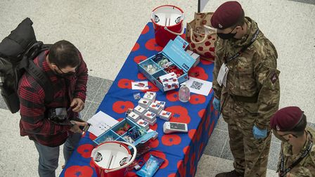 Members of 16 Air Assault supporting London Poppy Day in Liverpool Street station in London. Picture