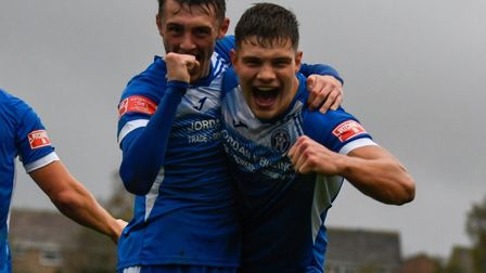 A happy scene: Harry Knights and Liam Jackson celebrate Leiston''s second goal, in the FA Trophy tie