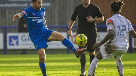 Carlos Edwards brings the ball under control during Bury Town's 2-2 home draw against Romford this w
