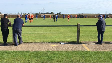 Social distancing being adhered to during Bury Town's opening game of the season, at Cogenhoe United