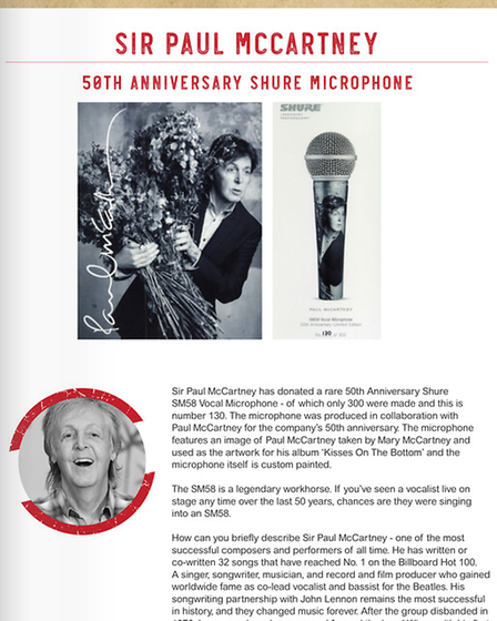 Sir Paul McCartney has donated a rare 50th anniversary microphone to the Celebrity Bottom Drawer auction, to raise money...
