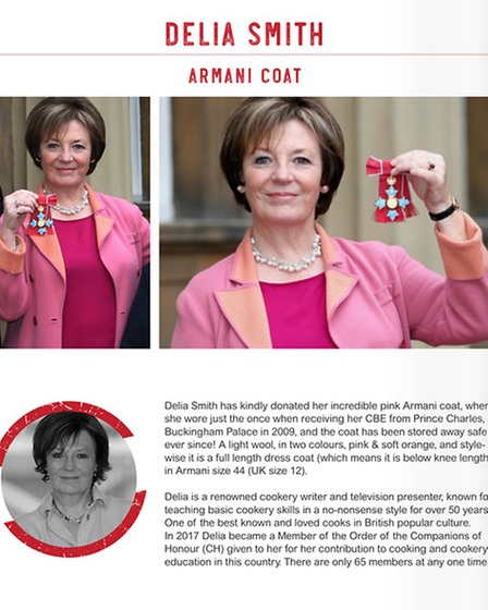 Delia Smith has donated her Armani coat - thatshe wore when she received her CBEfrom Prince Charles at Buckingham Palace...
