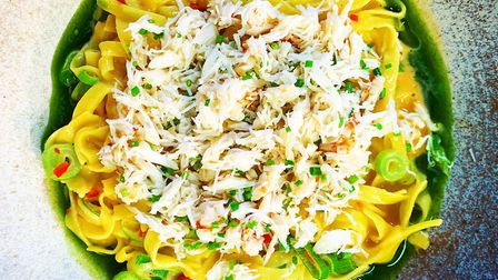 This crab, chilli and spring onion pasta dish is available to take away from The Unruly Pig in Brome