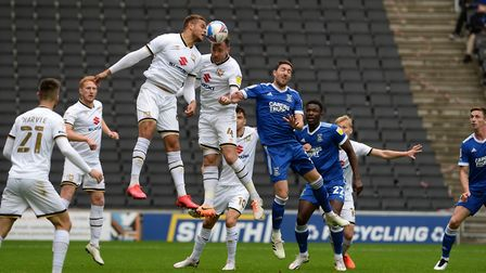 Penalty area action during the first half at MK Dons. Picture Pagepix Ltd