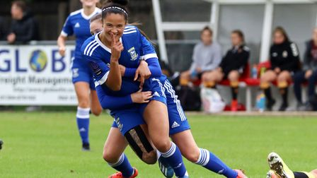 Natasha Thomas celebrates her first goal in the Blues 10-0 win against Cambridge United Picture: Ros