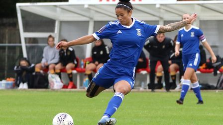 Natasha Thomas scoring her first goal in the Blues 10-0 win over Cambridge United Picture: Ross Hall