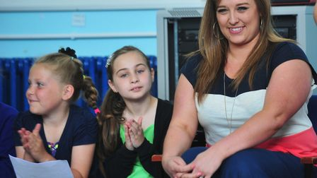 Leanne Mitchell who won BBC tv show The Voice, pictured here on a visit to The Dell primary school,