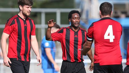 Henry Osei of May & Baker scores the second goal for his team and celebrates during Redbridge vs May