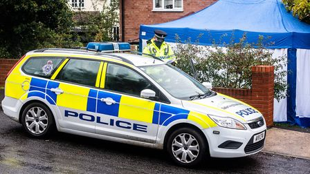 Policed remain outside the property in Bridgewood Road. Picture: SARAH LUCY BROWN