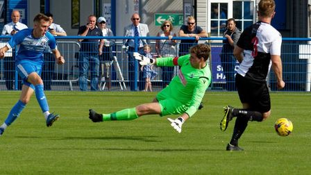 Liam Jackson scores his second goal of the game in Leiston's comfortable 5-0 victory over Halstead i
