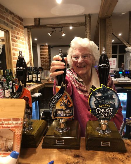 Betty French turned 90 back at the Red Lion pub in East Bergholt over the weekend. Picture: FRENCH FAMILY
